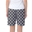 Modern Dots In Squares Mosaic Black White Women s Basketball Shorts View2