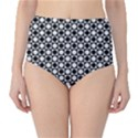 Modern Dots In Squares Mosaic Black White High-Waist Bikini Bottoms View1
