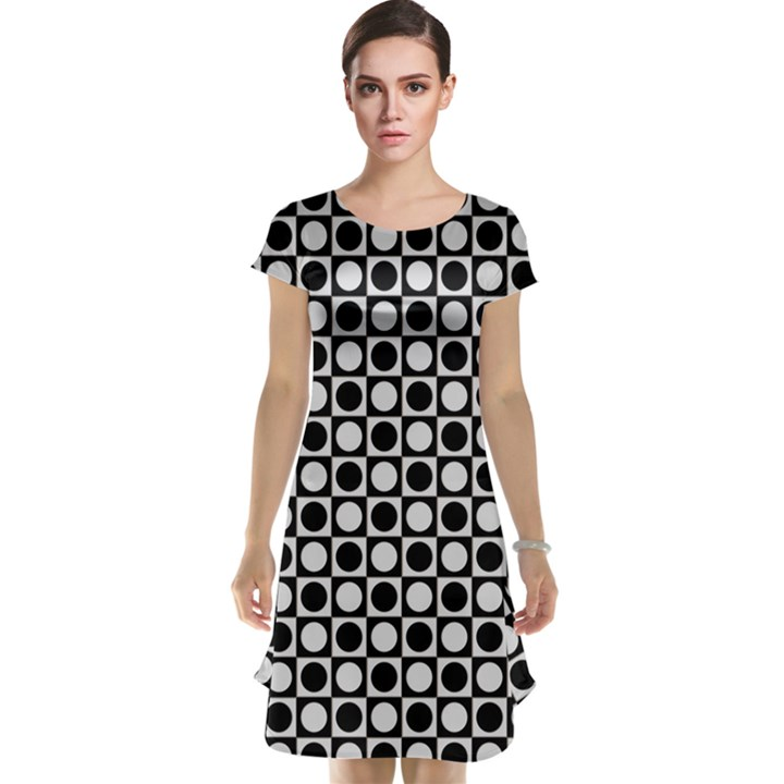 Modern Dots In Squares Mosaic Black White Cap Sleeve Nightdress