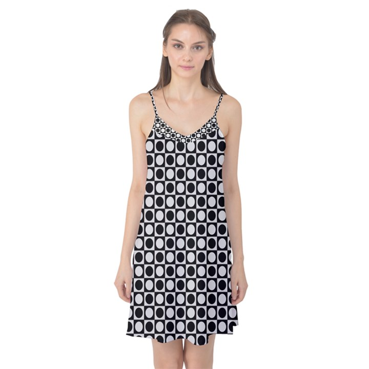 Modern Dots In Squares Mosaic Black White Camis Nightgown