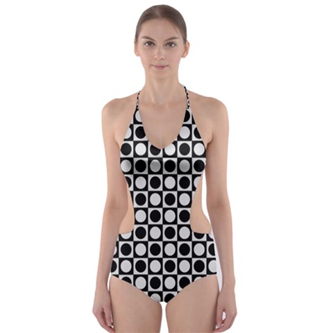Modern Dots In Squares Mosaic Black White Cut-Out One Piece Swimsuit