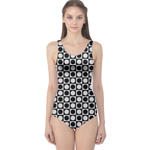 Modern Dots In Squares Mosaic Black White One Piece Swimsuit
