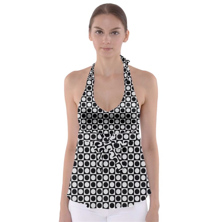 Modern Dots In Squares Mosaic Black White Babydoll Tankini Top