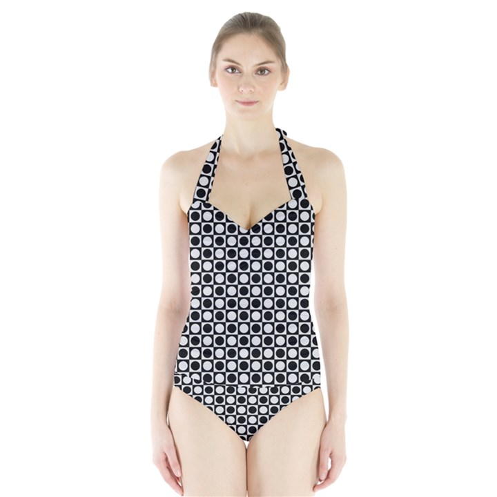 Modern Dots In Squares Mosaic Black White Halter Swimsuit