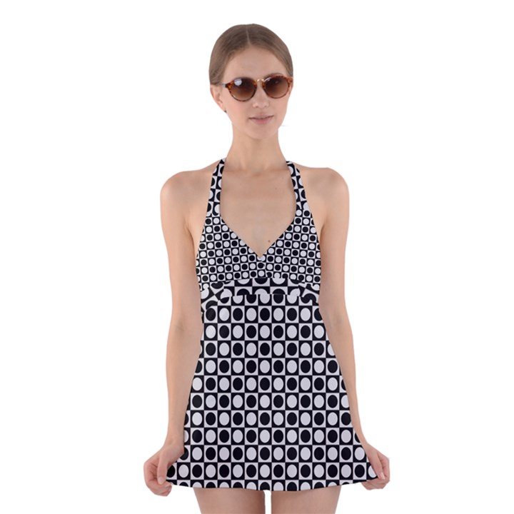 Modern Dots In Squares Mosaic Black White Halter Swimsuit Dress