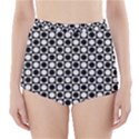 Modern Dots In Squares Mosaic Black White High-Waisted Bikini Bottoms View1