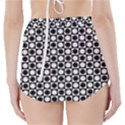 Modern Dots In Squares Mosaic Black White High-Waisted Bikini Bottoms View2