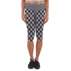 Modern Dots In Squares Mosaic Black White Capri Yoga Leggings