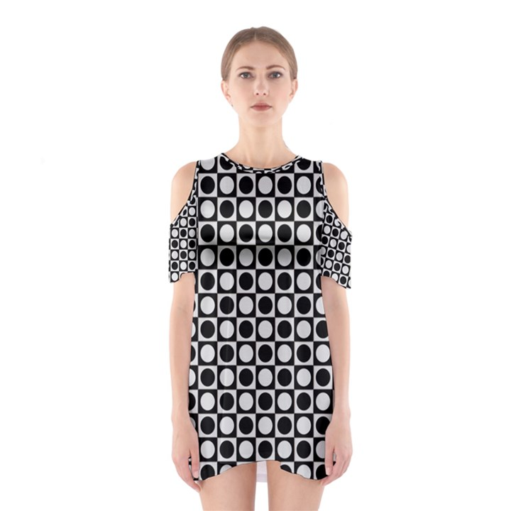 Modern Dots In Squares Mosaic Black White Cutout Shoulder Dress