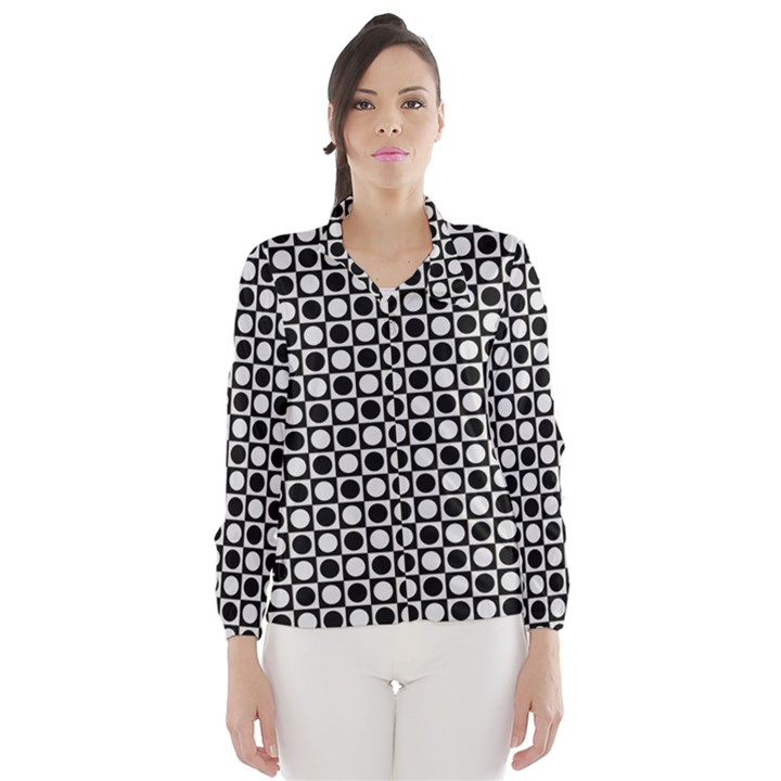 Modern Dots In Squares Mosaic Black White Wind Breaker (Women)