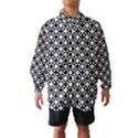 Modern Dots In Squares Mosaic Black White Wind Breaker (Kids) View1