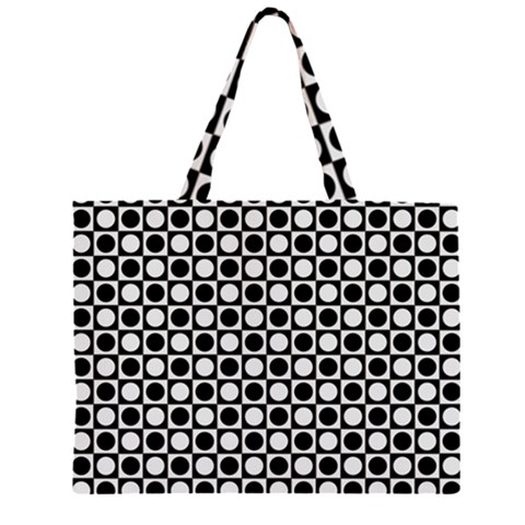 Modern Dots In Squares Mosaic Black White Large Tote Bag
