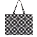 Modern Dots In Squares Mosaic Black White Large Tote Bag View1
