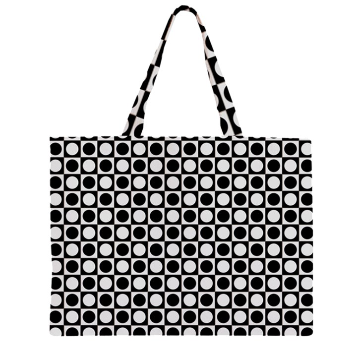 Modern Dots In Squares Mosaic Black White Large Tote Bag