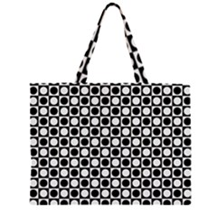 Modern Dots In Squares Mosaic Black White Zipper Large Tote Bag