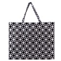Modern Dots In Squares Mosaic Black White Zipper Large Tote Bag View1