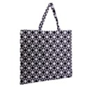 Modern Dots In Squares Mosaic Black White Zipper Large Tote Bag View2