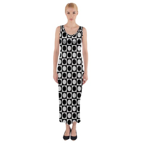 Modern Dots In Squares Mosaic Black White Fitted Maxi Dress