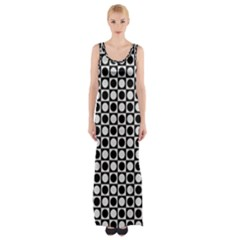 Modern Dots In Squares Mosaic Black White Maxi Thigh Split Dress