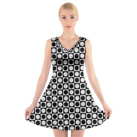 Modern Dots In Squares Mosaic Black White V-Neck Sleeveless Skater Dress