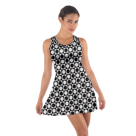 Modern Dots In Squares Mosaic Black White Cotton Racerback Dress