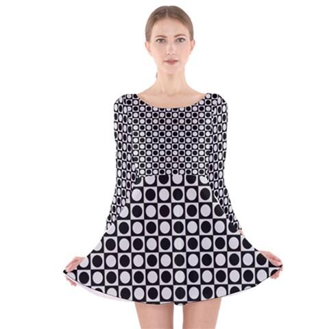 Modern Dots In Squares Mosaic Black White Long Sleeve Velvet Skater Dress
