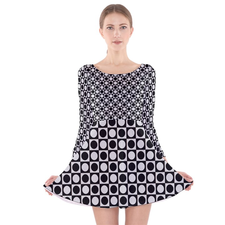 Modern Dots In Squares Mosaic Black White Long Sleeve Velvet Skater Dress