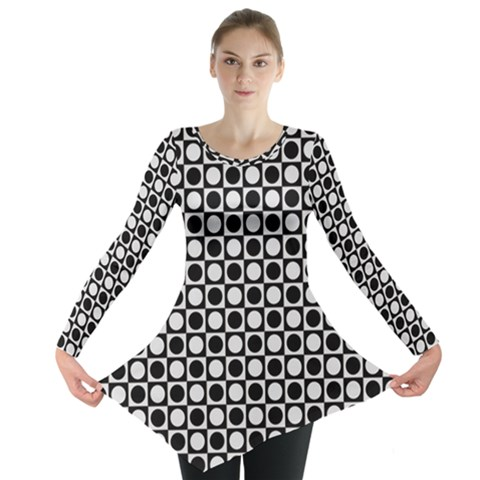Modern Dots In Squares Mosaic Black White Long Sleeve Tunic