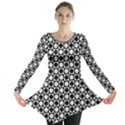 Modern Dots In Squares Mosaic Black White Long Sleeve Tunic  View1