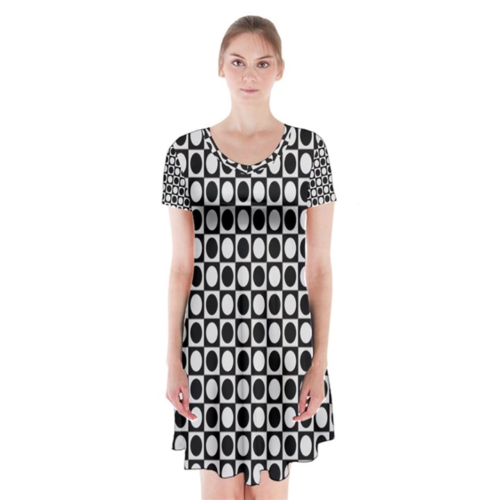 Modern Dots In Squares Mosaic Black White Short Sleeve V-neck Flare Dress