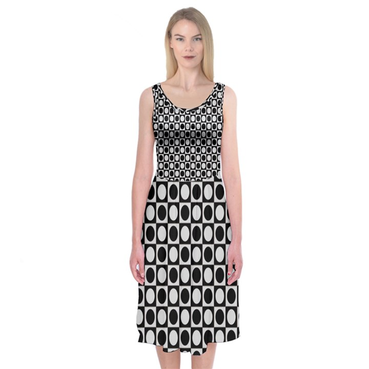 Modern Dots In Squares Mosaic Black White Midi Sleeveless Dress