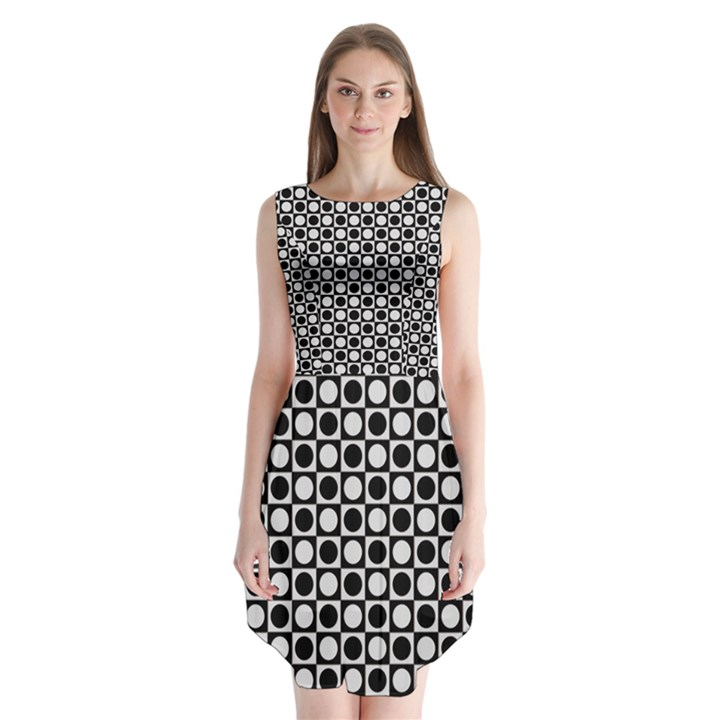 Modern Dots In Squares Mosaic Black White Sleeveless Chiffon Dress