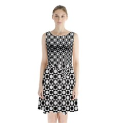 Modern Dots In Squares Mosaic Black White Sleeveless Chiffon Waist Tie Dress