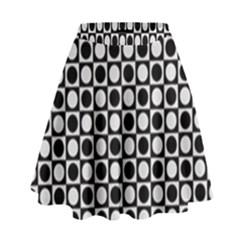 Modern Dots In Squares Mosaic Black White High Waist Skirt