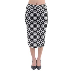 Modern Dots In Squares Mosaic Black White Midi Pencil Skirt