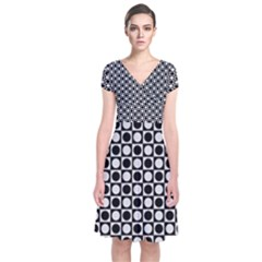 Modern Dots In Squares Mosaic Black White Short Sleeve Front Wrap Dress