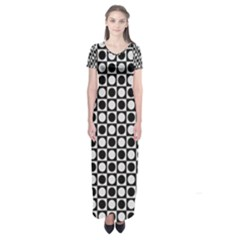 Modern Dots In Squares Mosaic Black White Short Sleeve Maxi Dress