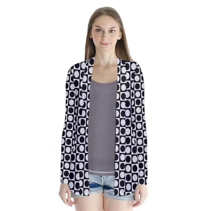 Modern Dots In Squares Mosaic Black White Drape Collar Cardigan