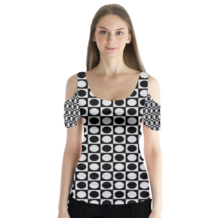 Modern Dots In Squares Mosaic Black White Butterfly Sleeve Cutout Tee