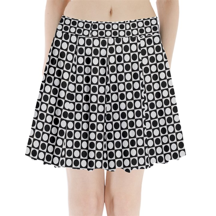 Modern Dots In Squares Mosaic Black White Pleated Mini Skirt