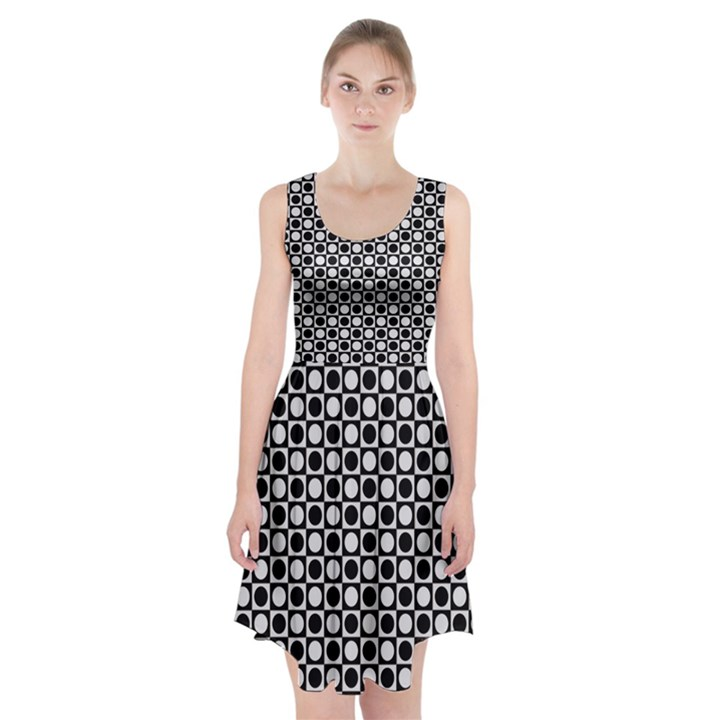 Modern Dots In Squares Mosaic Black White Racerback Midi Dress