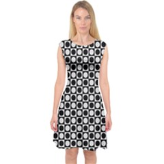 Modern Dots In Squares Mosaic Black White Capsleeve Midi Dress