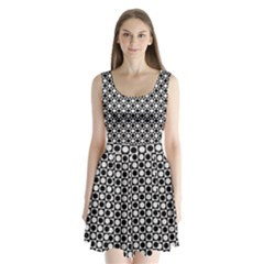 Modern Dots In Squares Mosaic Black White Split Back Mini Dress