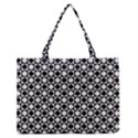 Modern Dots In Squares Mosaic Black White Medium Zipper Tote Bag View1