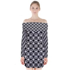 Modern Dots In Squares Mosaic Black White Long Sleeve Off Shoulder Dress