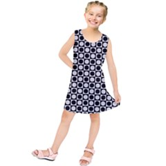Modern Dots In Squares Mosaic Black White Kids  Tunic Dress