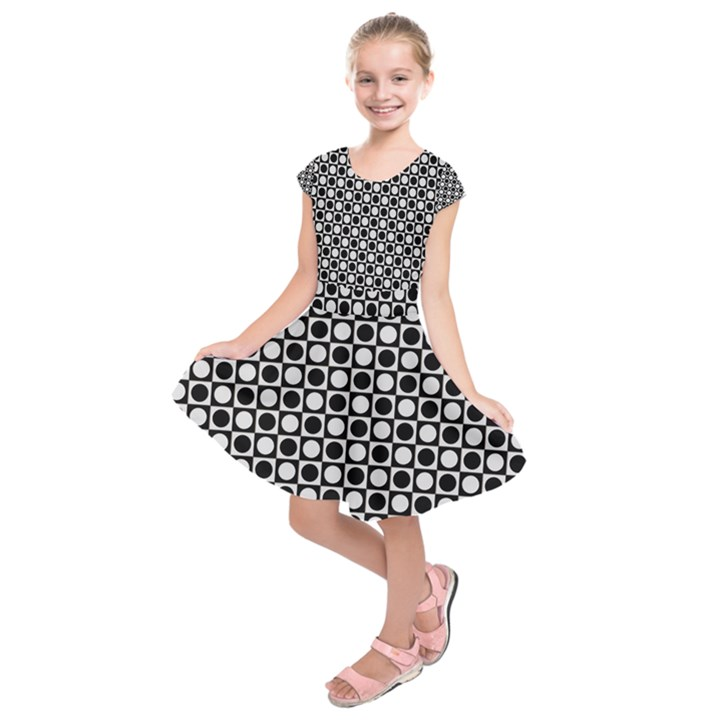 Modern Dots In Squares Mosaic Black White Kids  Short Sleeve Dress
