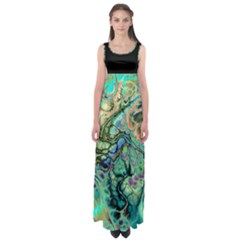 Abstract Fractal Batik Art Teal Turquoise Salmon Empire Waist Maxi Dress