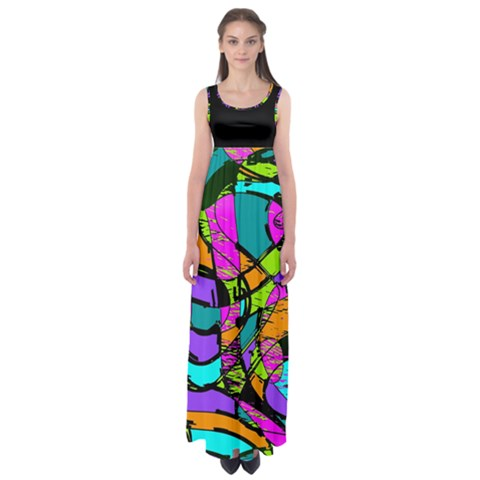 Abstract Sketch Art Squiggly Loops Multicolored Empire Waist Maxi Dress
