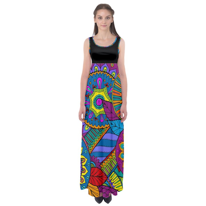 Pop ART Paisley Flowers Ornaments multicolored Empire Waist Maxi Dress